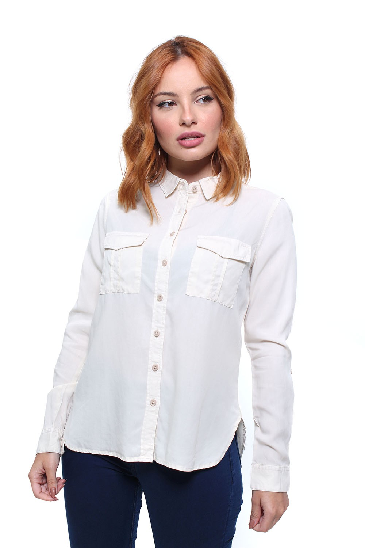 Camisa Feminina Manga Longa Com Bolsos Crocker - 45763