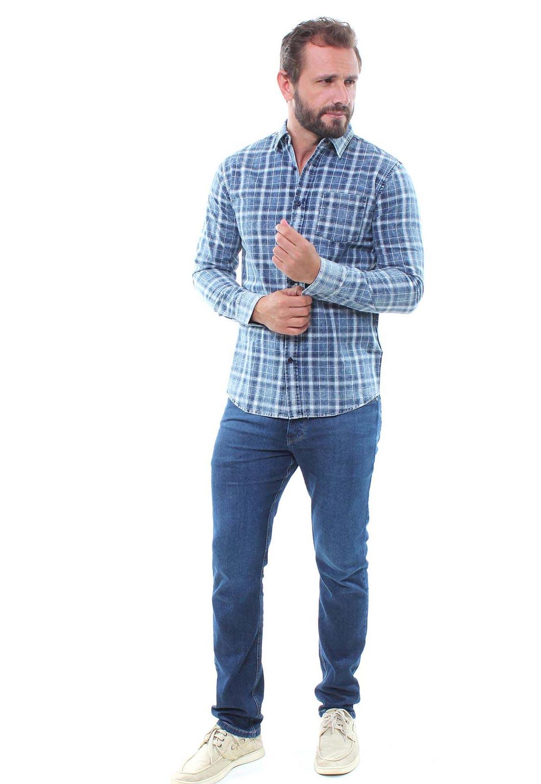 Camisa Masculina Manga Longa Xadrez Estonada Crocker - 46901  - CROCKER JEANS