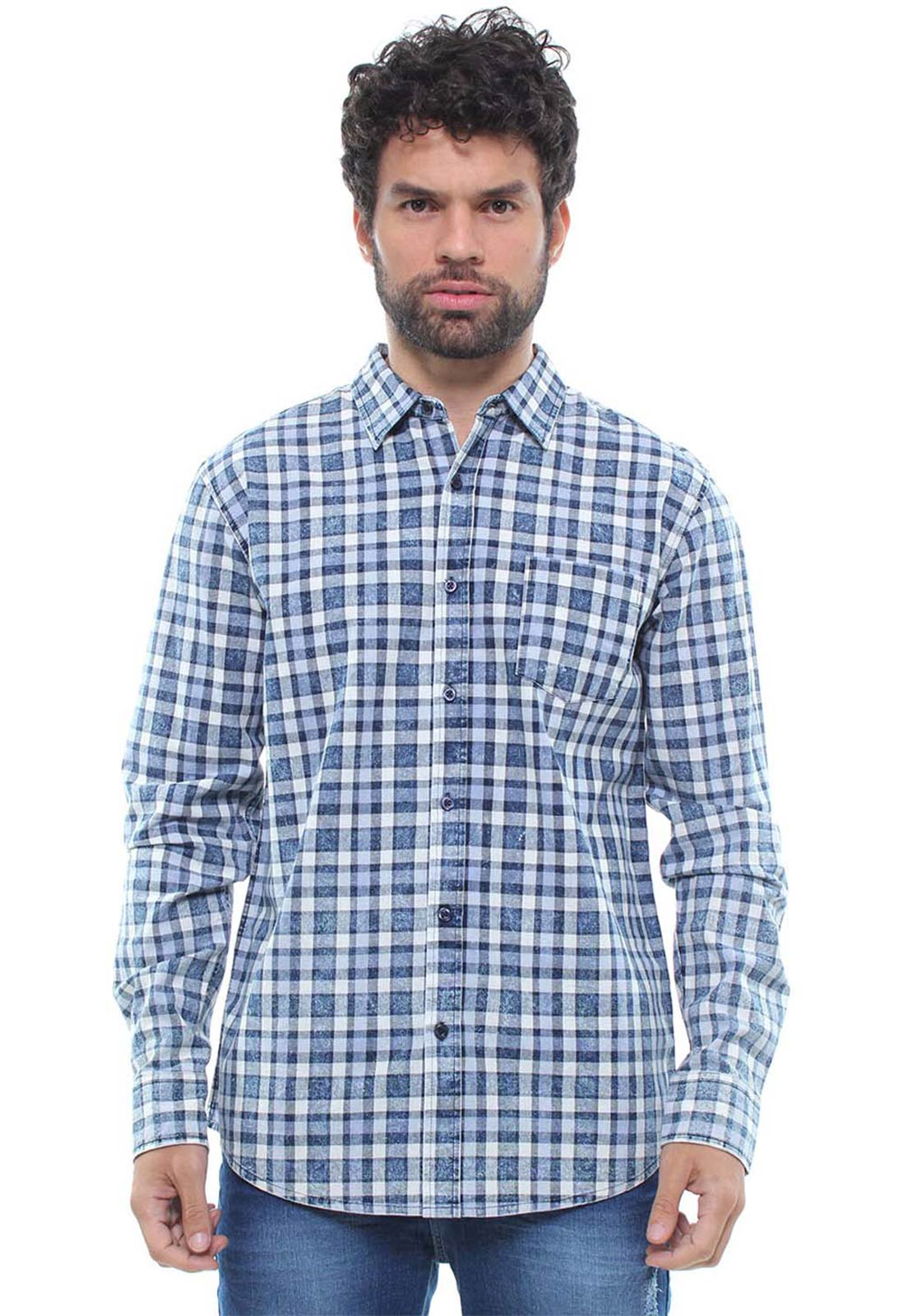 Camisa Masculina Manga Longa Xadrez Estonada Crocker - 46904  - CROCKER JEANS