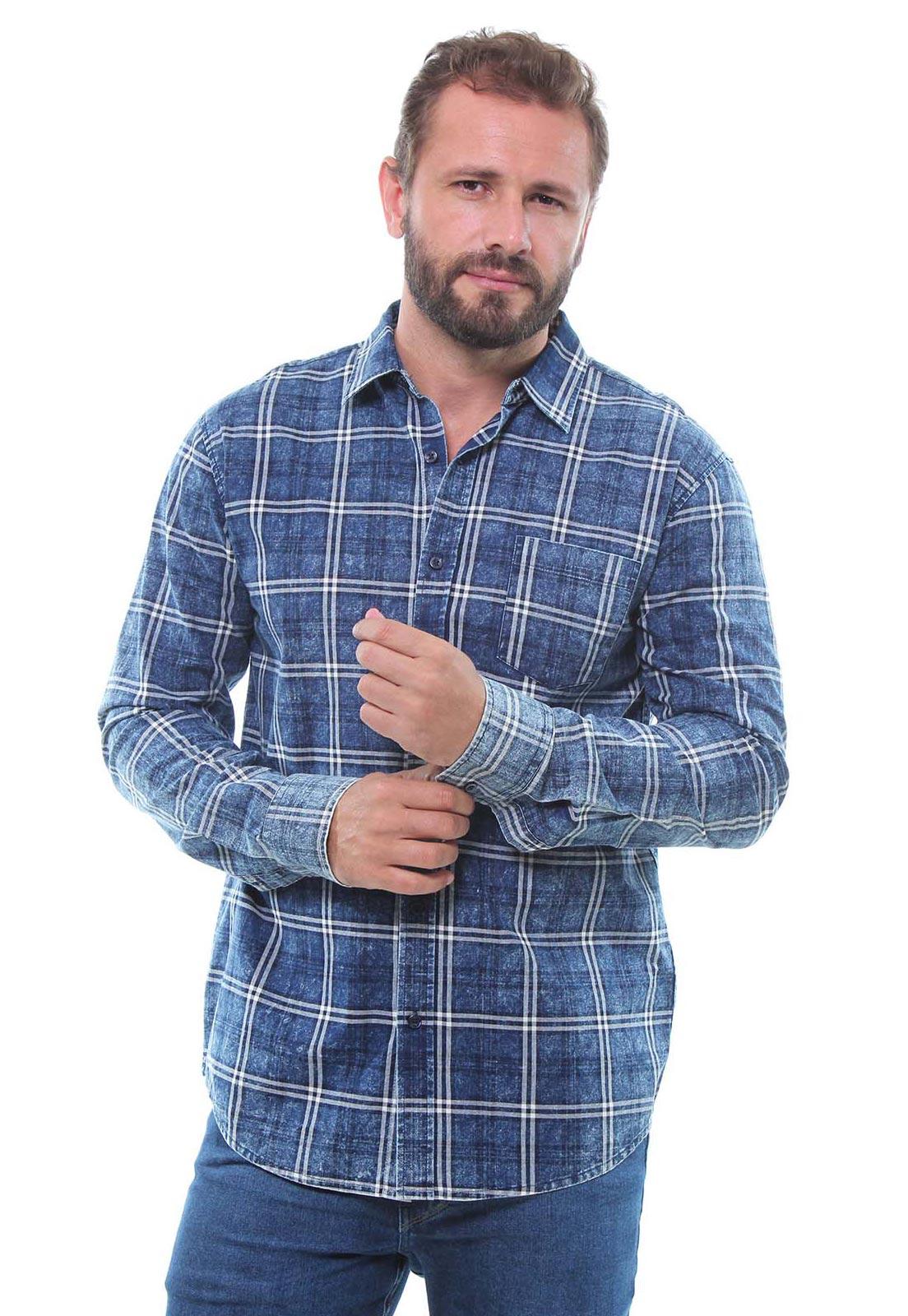 Camisa Masculina Manga Longa Xadrez Estonada Crocker - 46905  - CROCKER JEANS