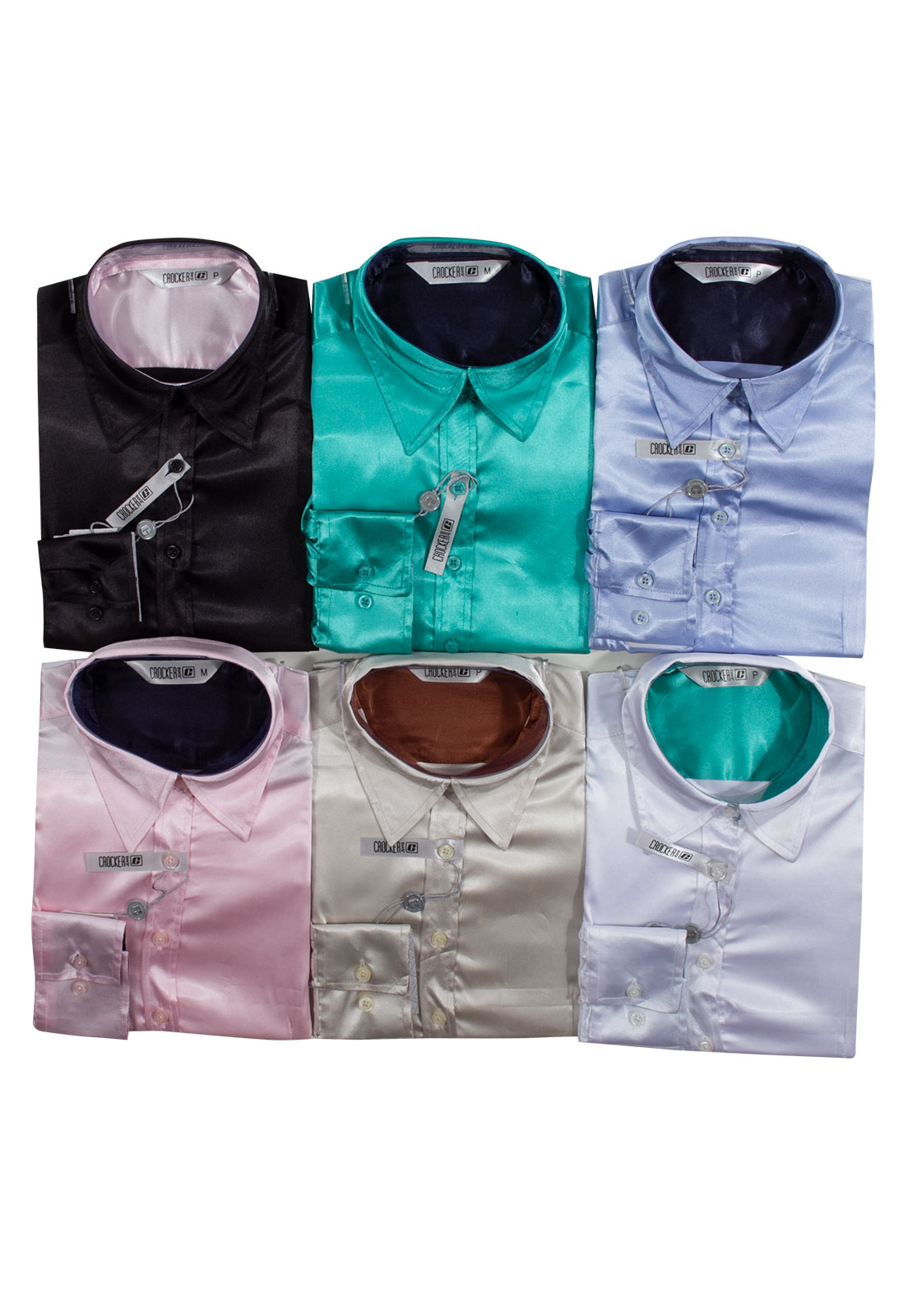 Kit 3 Camisas Femininas Manga Longa Cetim Crocker - 45749 Cores Variadas