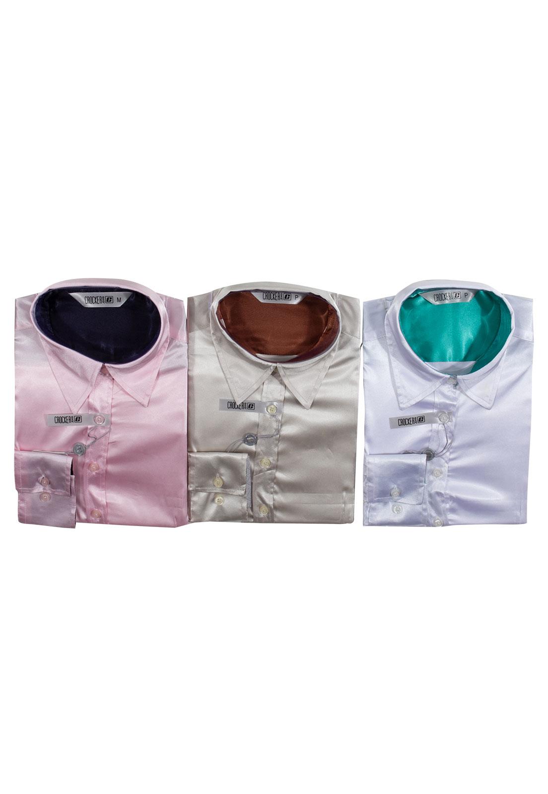 Kit 3 Camisas Femininas Manga Longa Cetim Crocker - 45749 Rosa/Areia/Branco