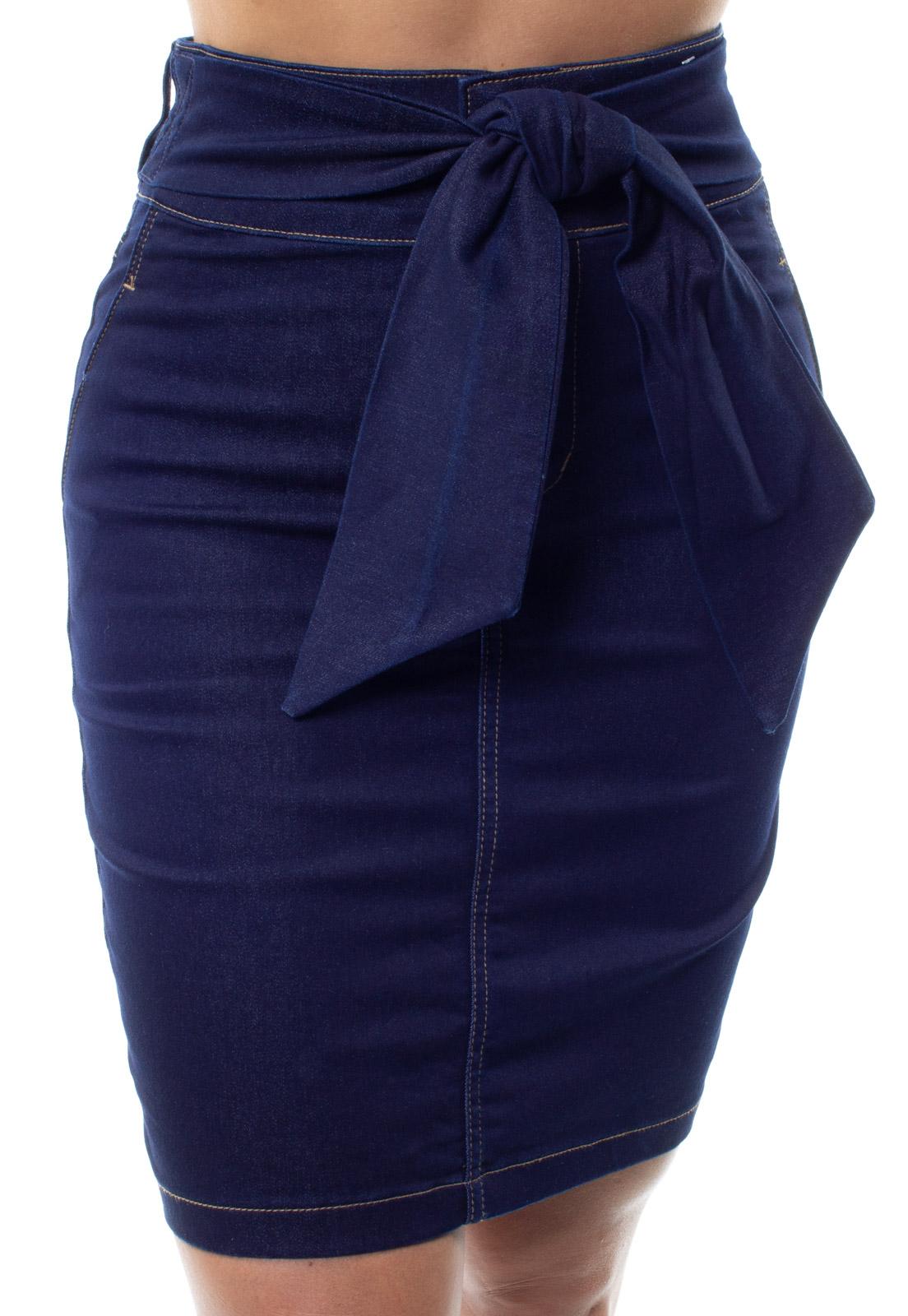 Saia Jeans Cintura Alta Com Cinto Feminina Crocker - 48286  - CROCKER JEANS
