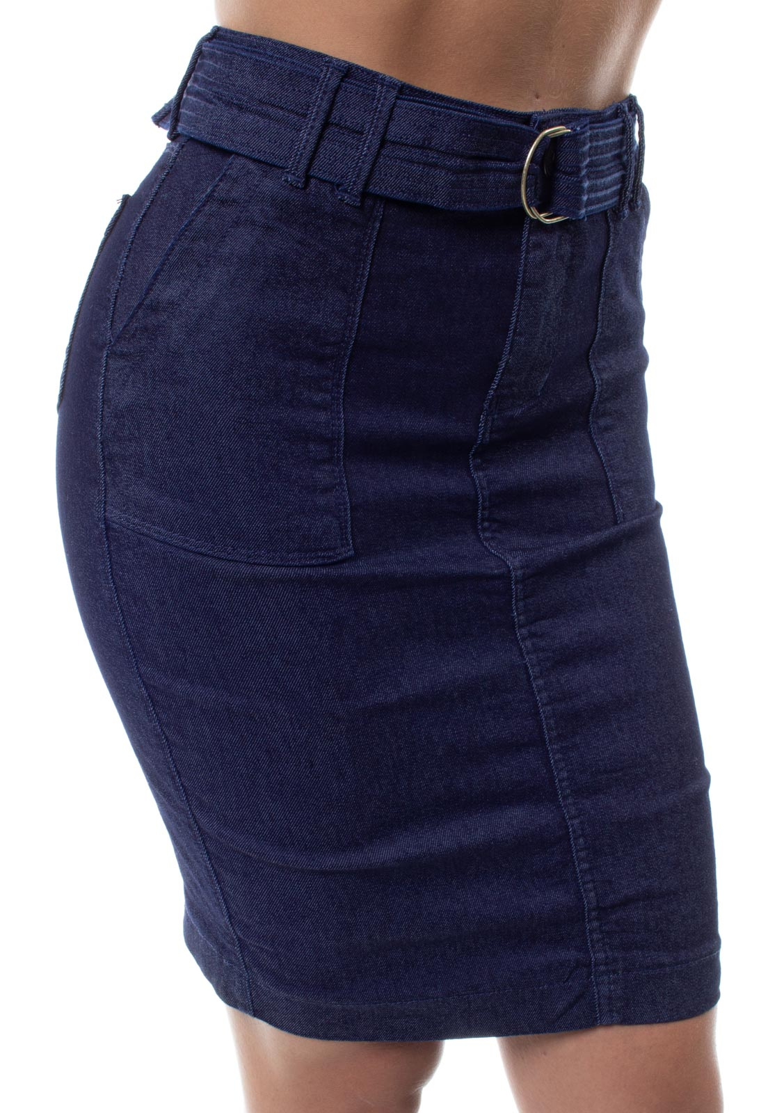 Saia Jeans Cintura Alta Com Cinto Feminina Crocker - 48288  - CROCKER JEANS