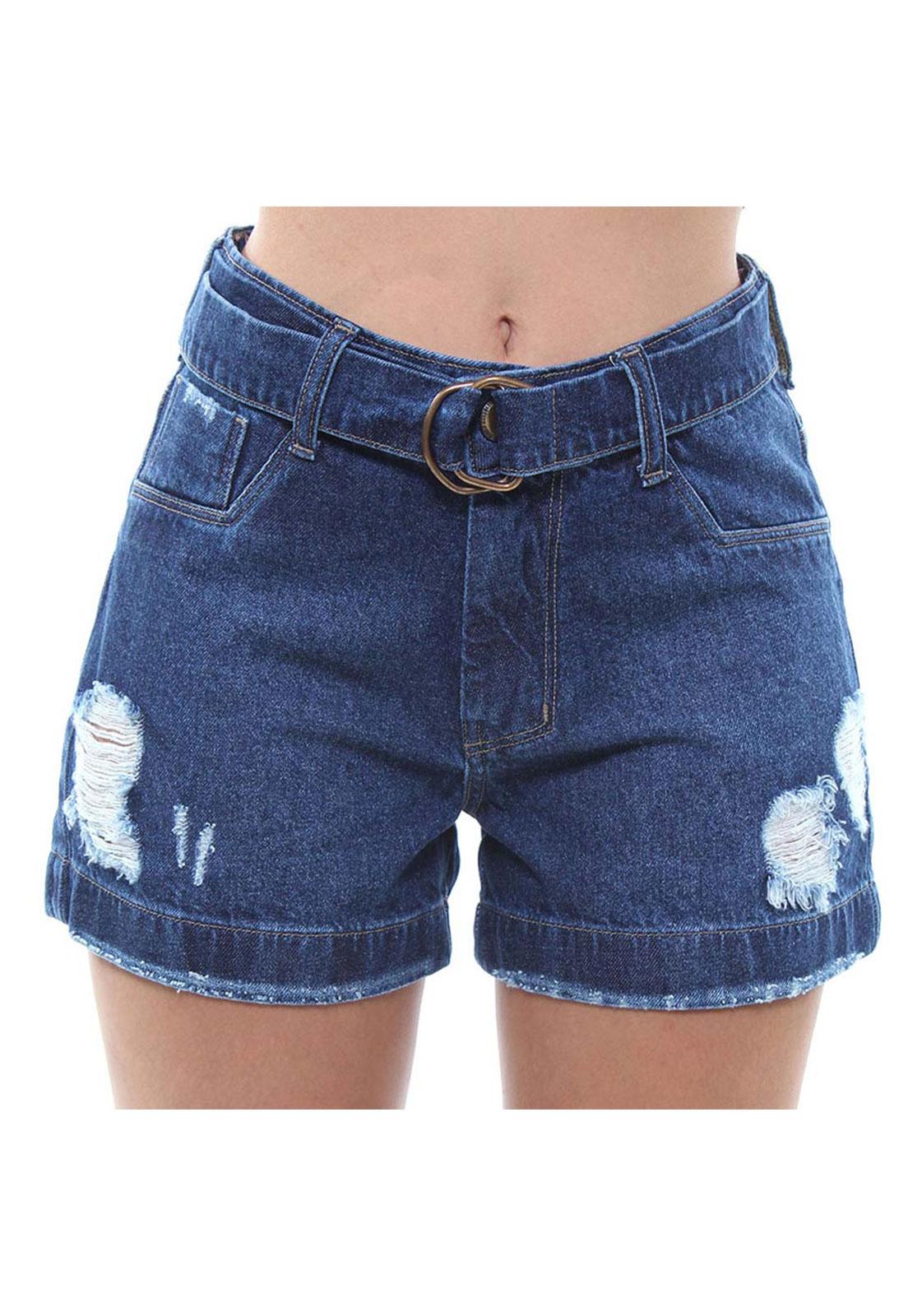 Short Jeans Feminino Curto Assimétrico Crocker - 47922