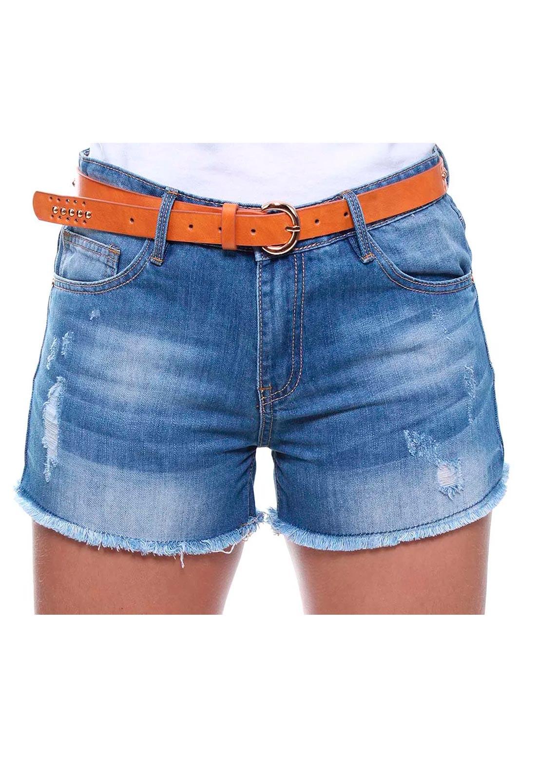 Short Jeans Feminino Curto Barra Desfiada Com Cinto Boy Crocker - 46452