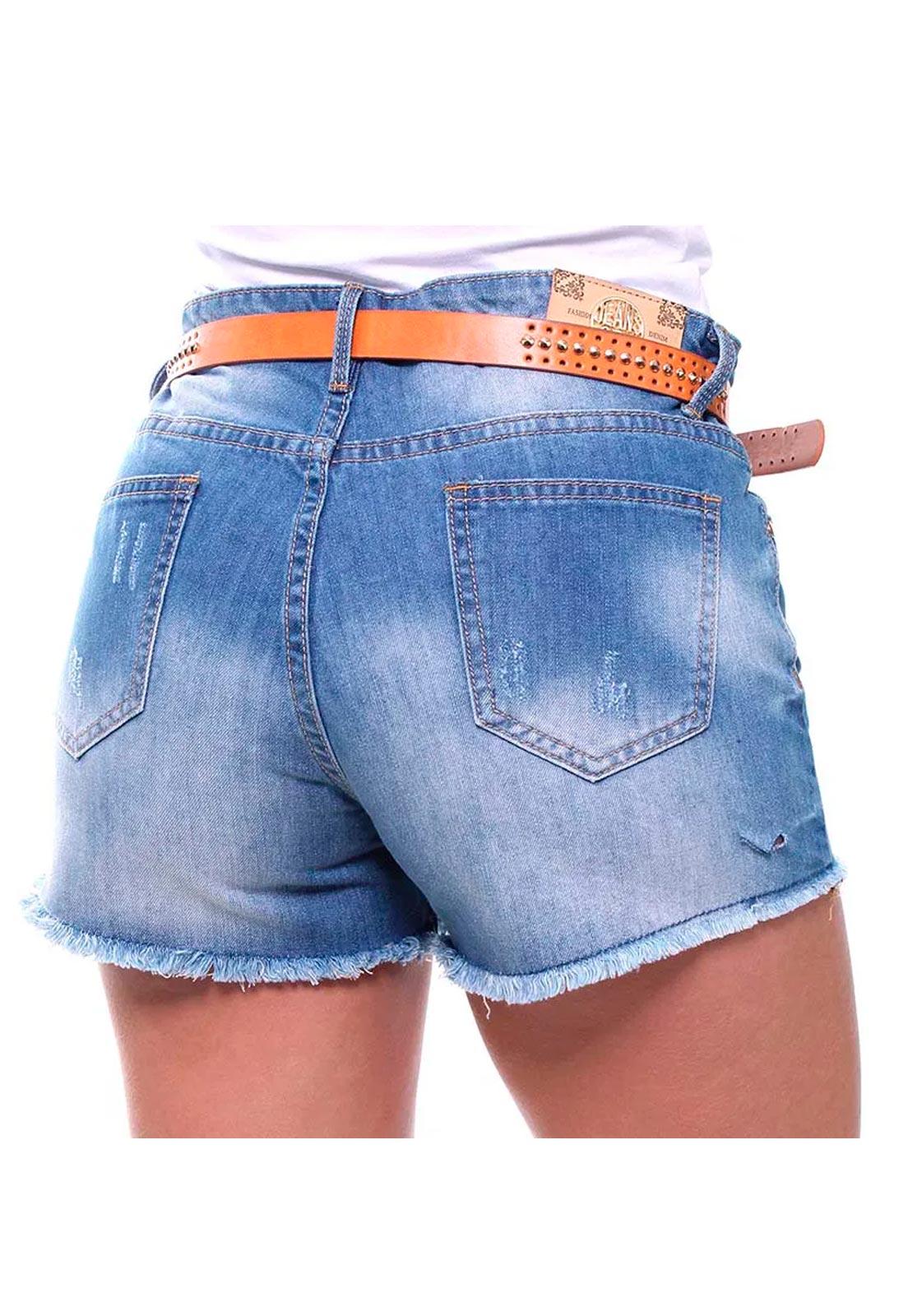 Short Jeans Feminino Curto Barra Desfiada Com Cinto Boy Crocker - 46452  - CROCKER JEANS