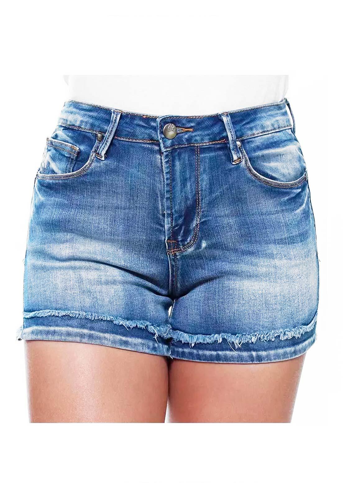 Short Jeans Feminino Curto Barra Desfiada Slim Crocker - 46476