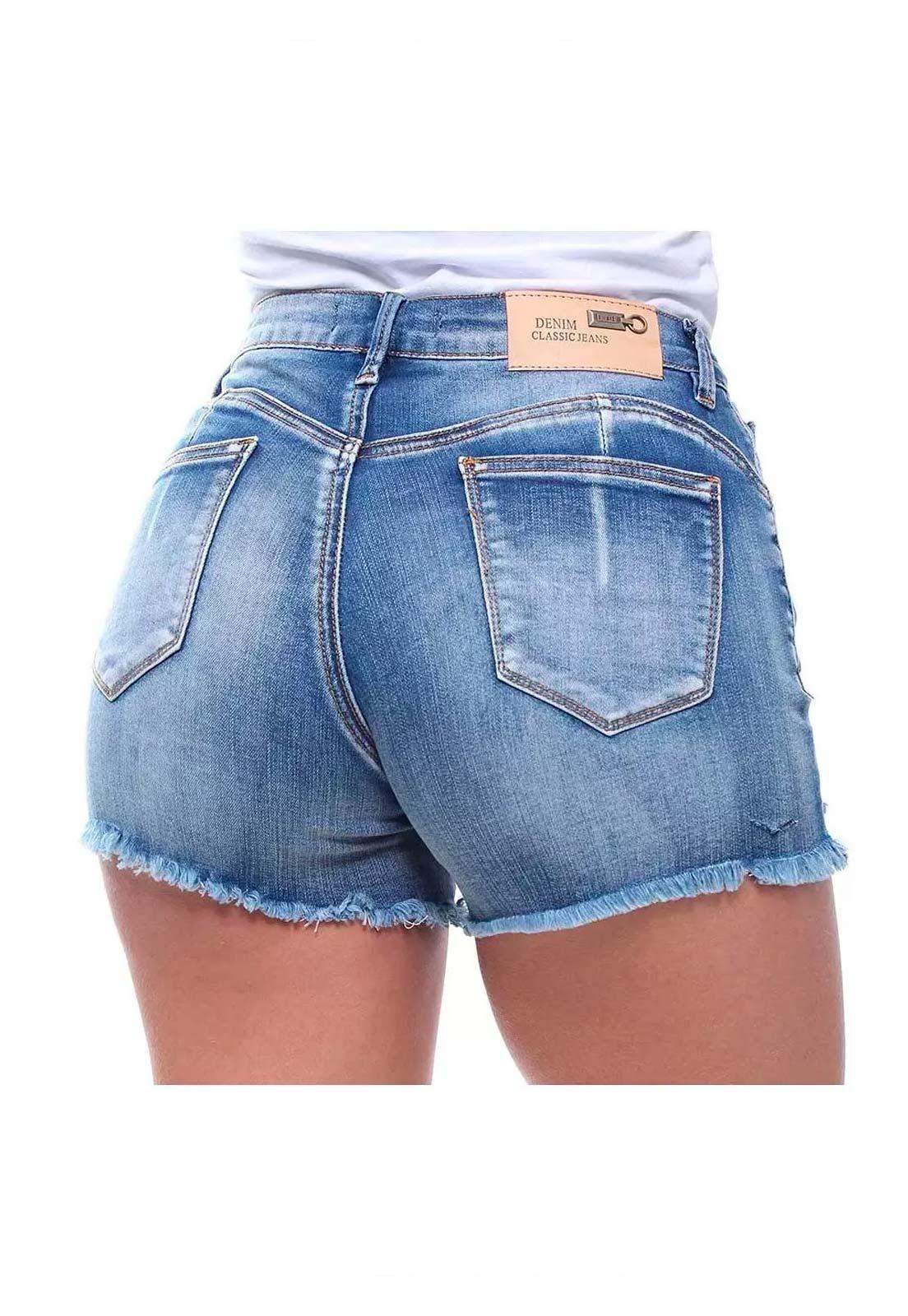 Short Jeans Feminino Curto Barra Desfiada Slim Crocker - 46476  - CROCKER JEANS