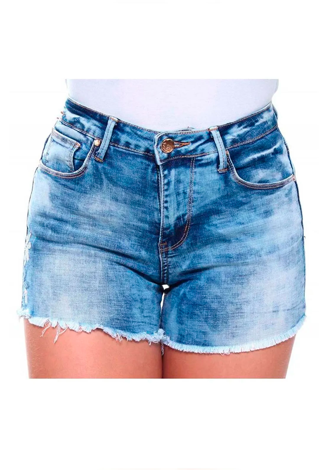 Short Jeans Feminino Curto Bordado Barra Desfiada Slim Crocker - 46475