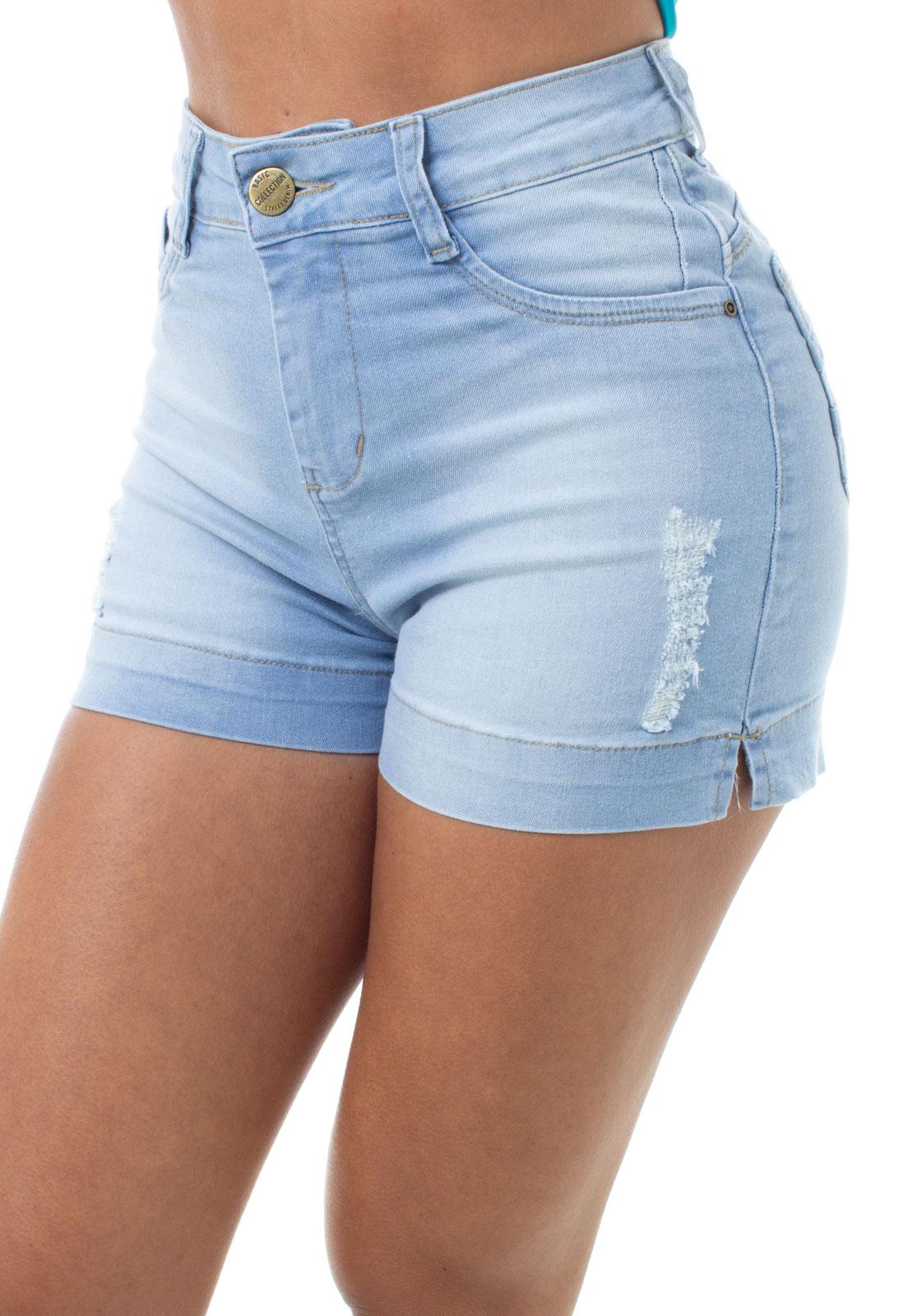 Short Jeans Feminino Curto Com Fenda Na Barra Fit Crocker - 47915  - CROCKER JEANS