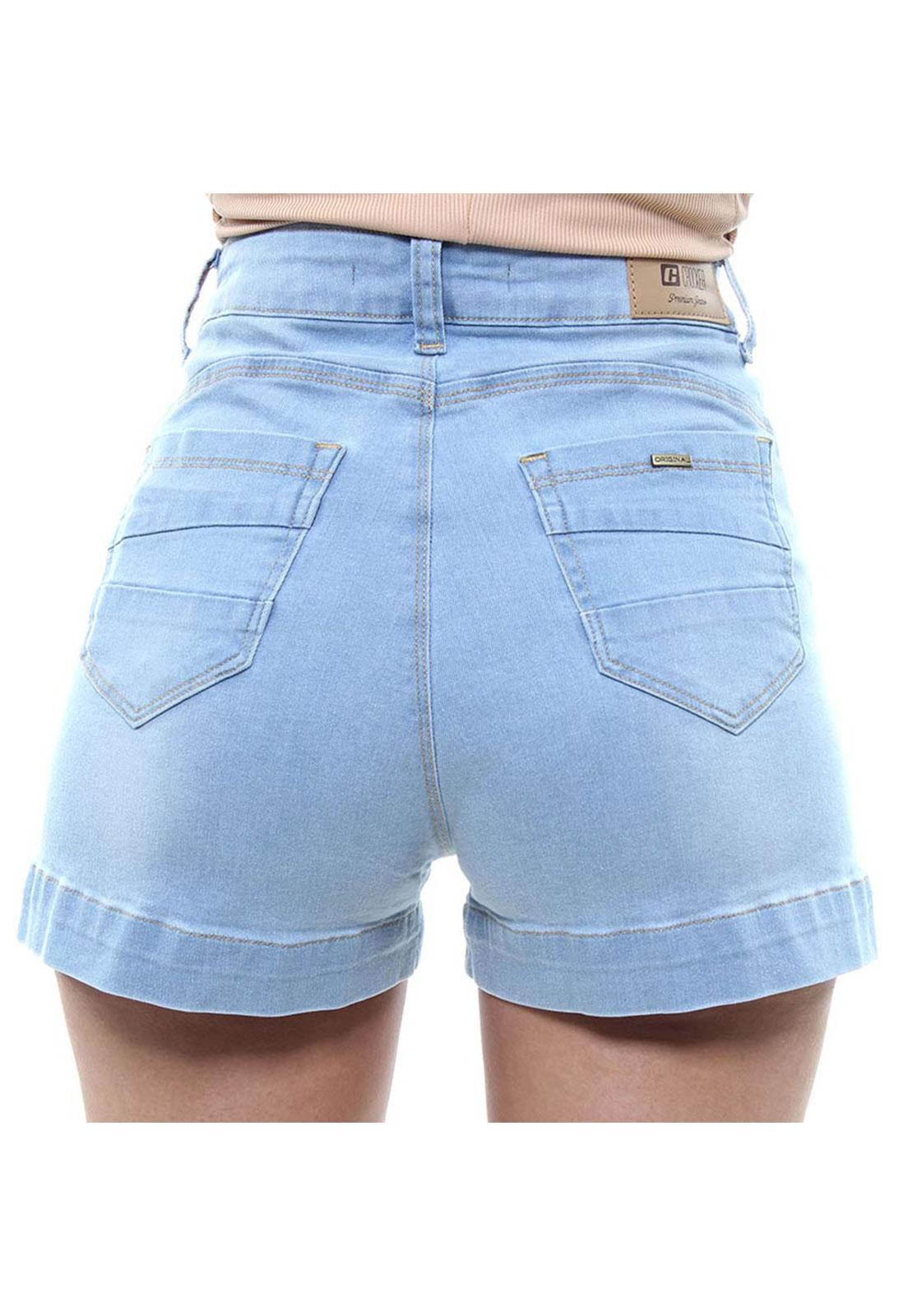 Short Jeans Feminino Curto Com Fenda Na Barra Fit Crocker - 47915