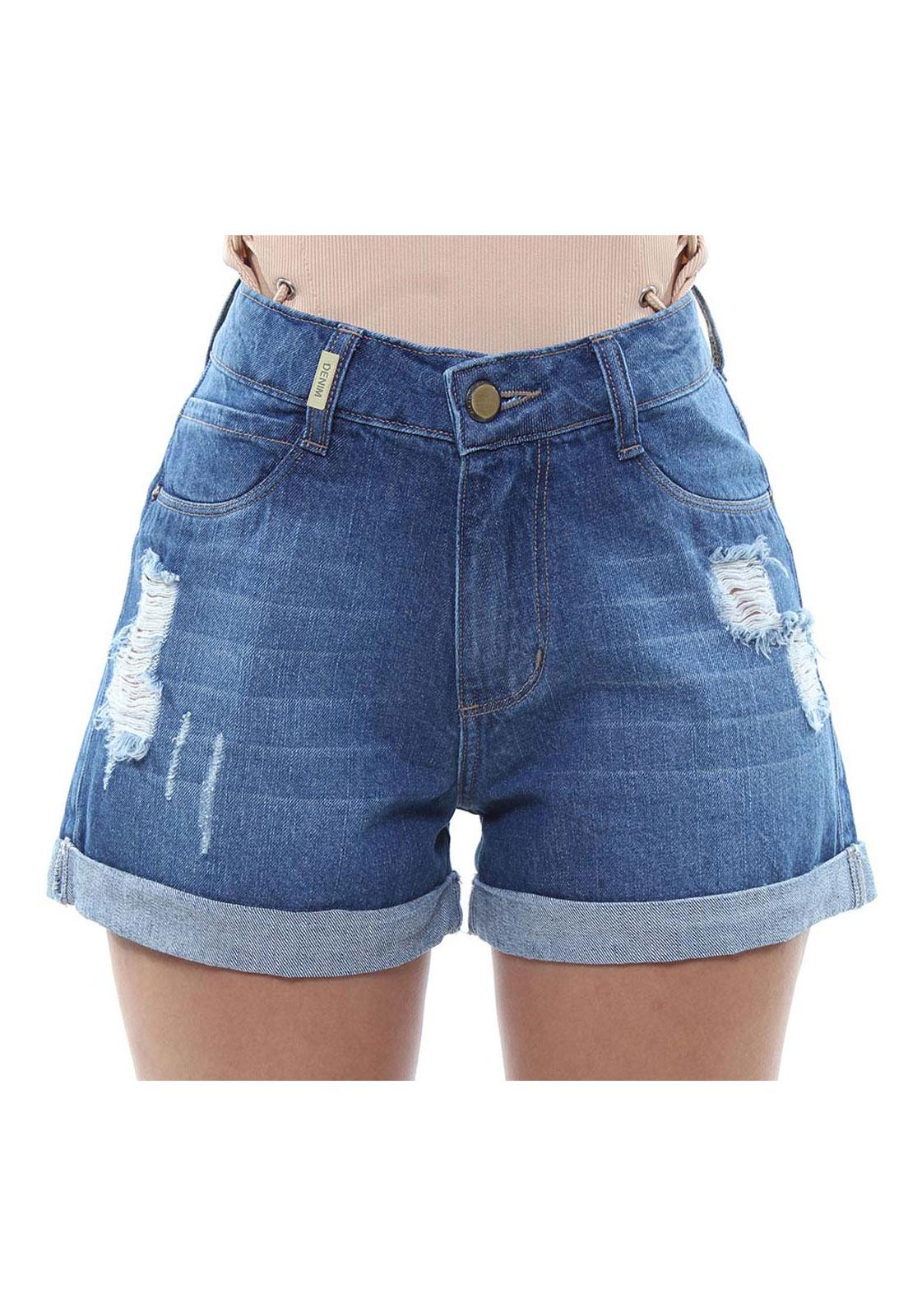 Short Jeans Feminino Curto Destroyed Assimétrico Com Barra Dobrada Crocker - 47921  - CROCKER JEANS