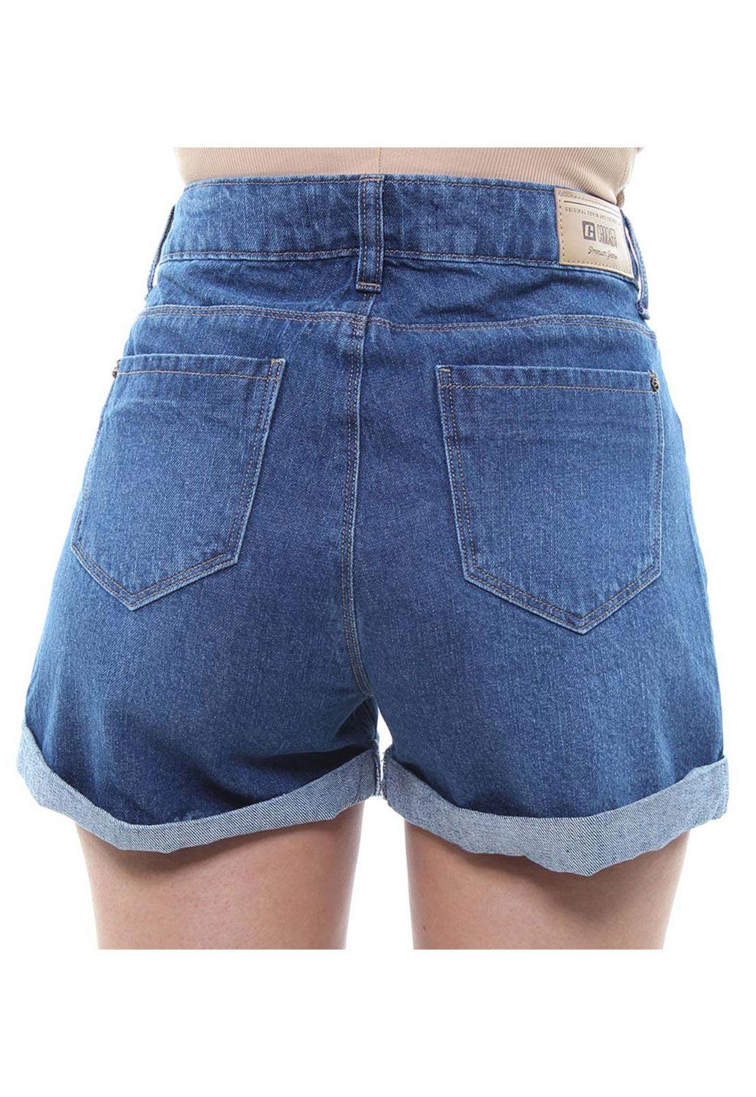 Short Jeans Feminino Curto Destroyed Assimétrico Com Barra Dobrada Crocker - 47921