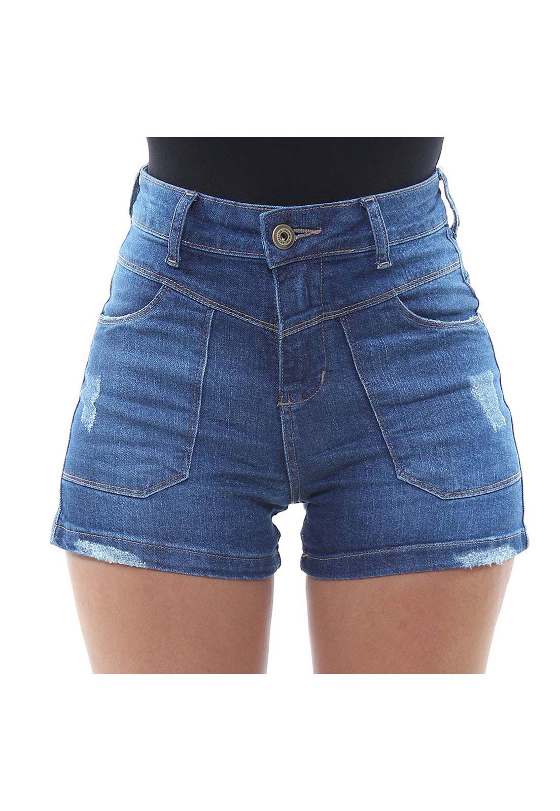 Short Jeans Feminino Curto Destroyed Fit Crocker - 47919