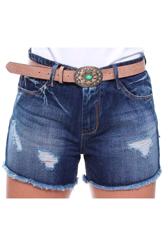 Short Jeans Feminino Curto Destroyed Com Cinto Boy Crocker - 46446