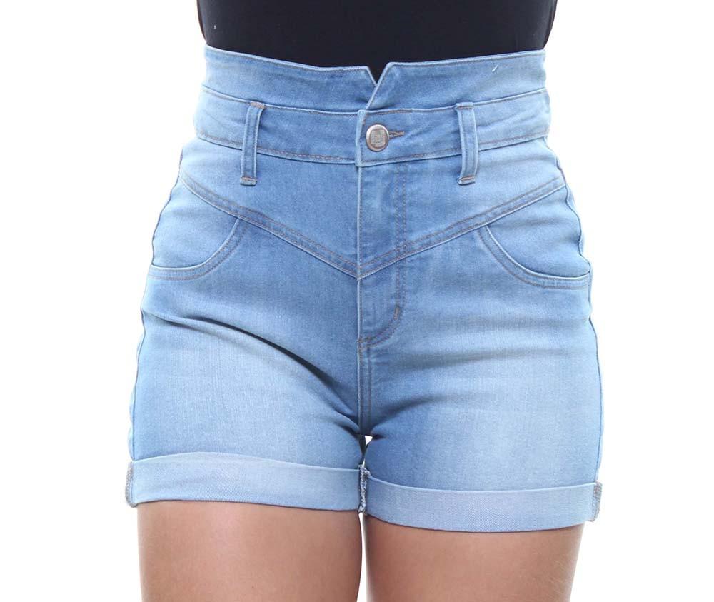 Short Jeans Feminino Cintura Alta e Barra Dobrada Crocker - 47787