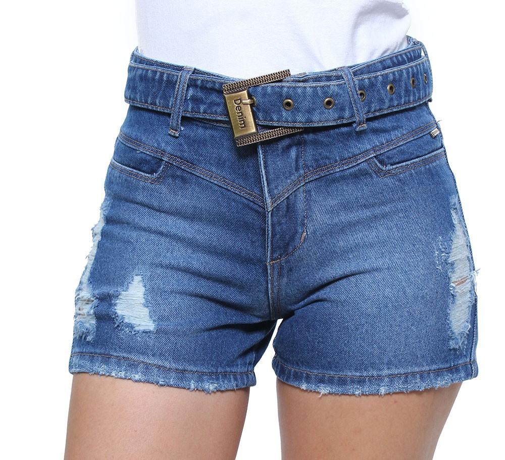 Short Jeans Feminino Curto Destroyed Com Cinto Boy Crocker - 47799