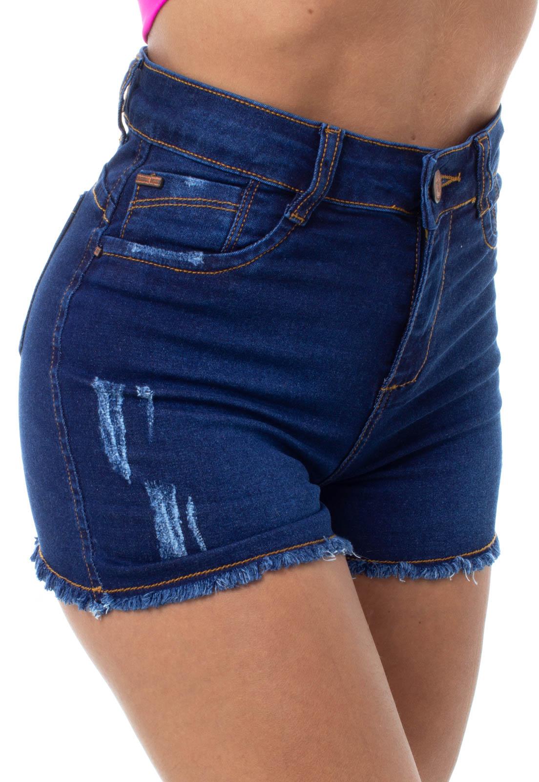 Shorts Jeans Feminino Curto Barra Desfiada Slim Crocker - 47917  - CROCKER JEANS