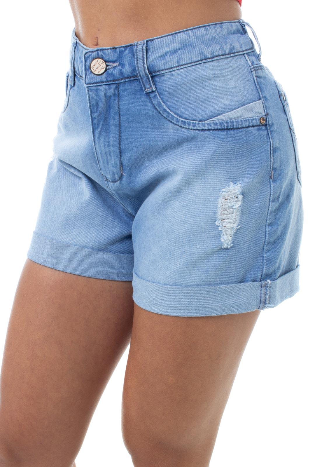 Shorts Jeans Feminino Curto Barra Dobrada Crocker - 48146  - CROCKER JEANS