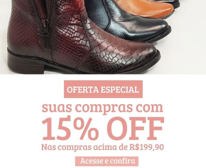 Confira nossa oferta, 15% off em compras acima de R$199,90