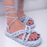 Sandália Feminina flatform de amarração trançada