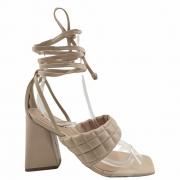 Sandália feminina salto bloco com transparência e amarração