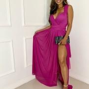 Vestido Longo Amarração Fenda Serena Pink Luxo Para Festas