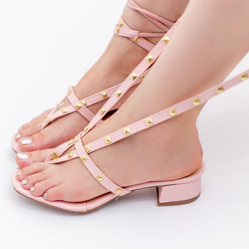 Sandália feminina salto bloco baixo taxas e amarração