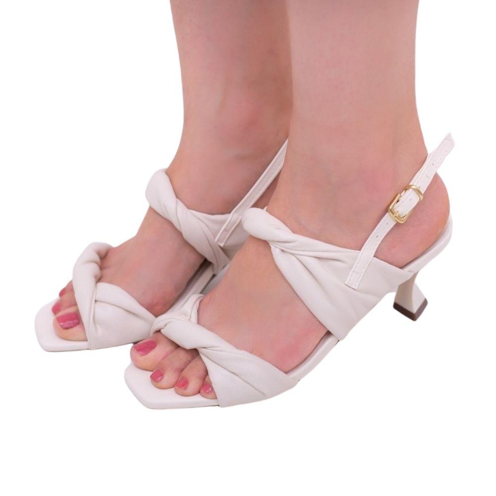 Sandália Feminina salto médio taça branco