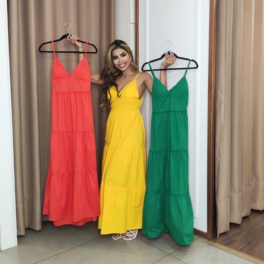 Vestido feminino longo com alça e bojo moda verão