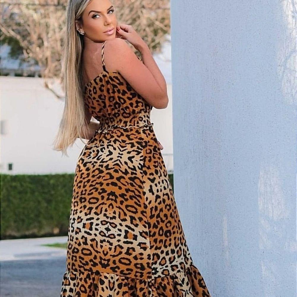 Vestido Feminino Longo de alcinha Animal Print Onça