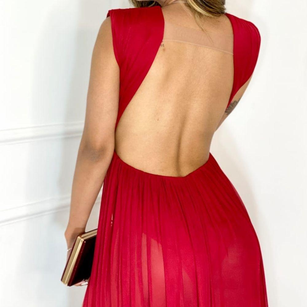 Vestido Feminino Tule com Decote V nas Costas Fenda lateral