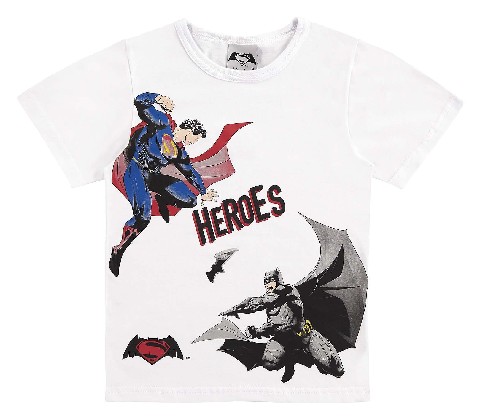 CAMISETA INFANTIL SUPERMAN E BATMAN MASCULINO