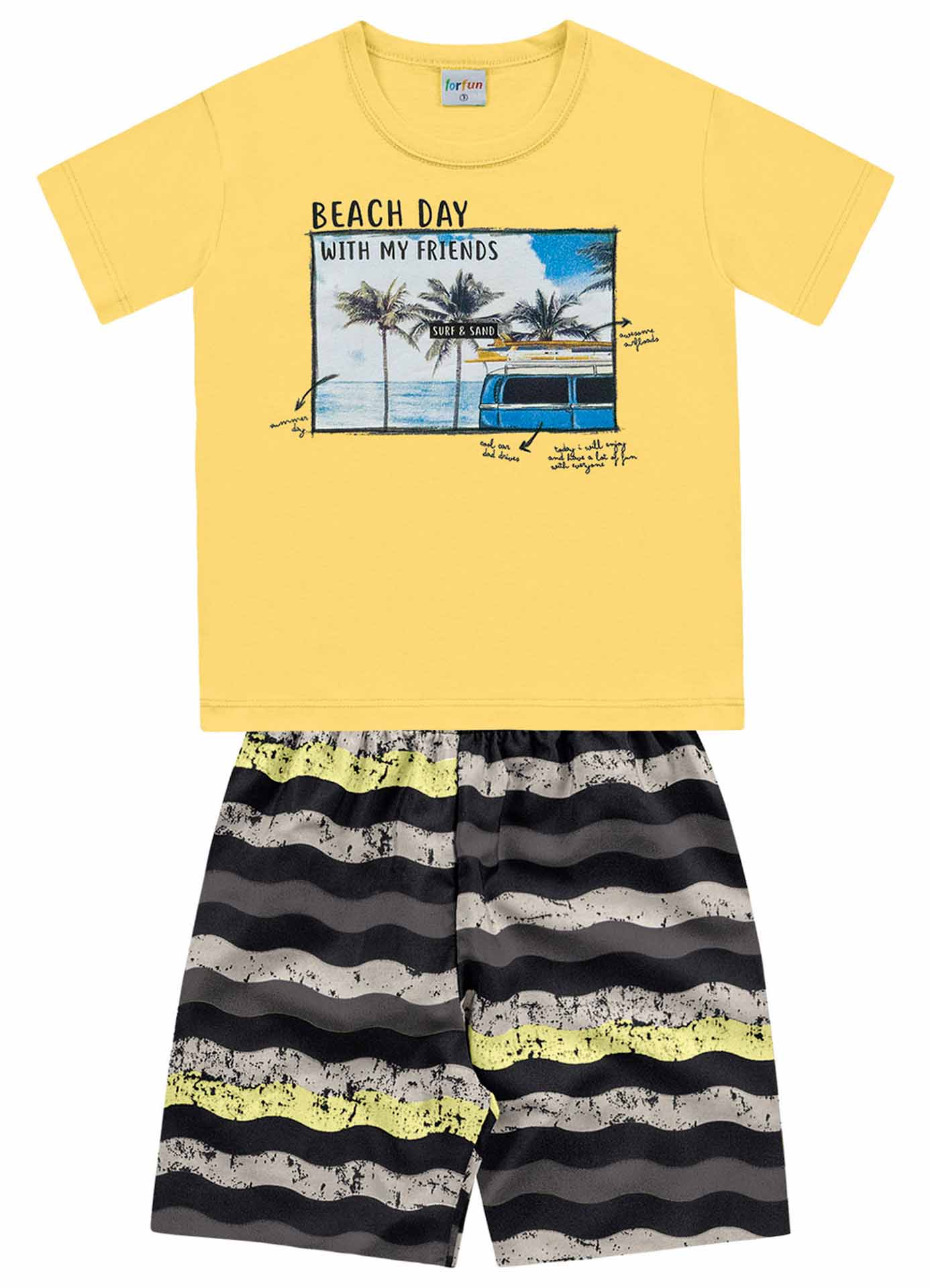 CONJUNTO CAMISETA/BERMUDA BEACH DAY