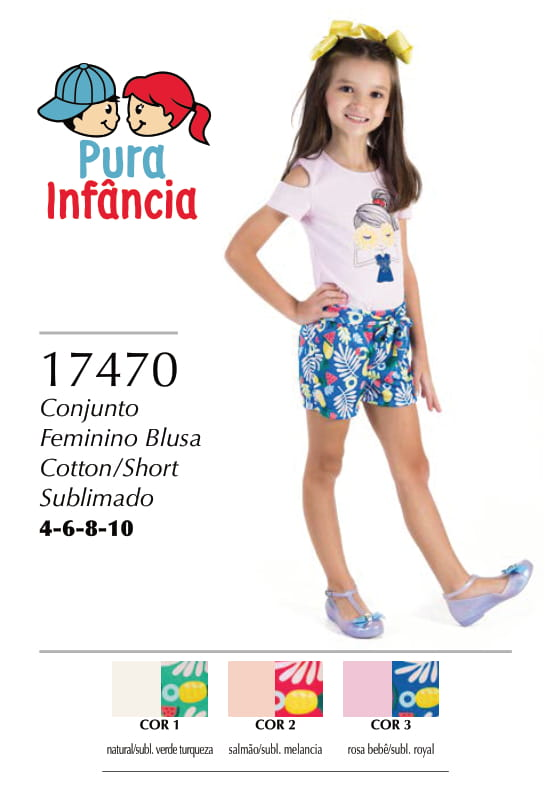 CONJUNTO FEMININO BLUSA COTTON / SHORT SUBLIMADO