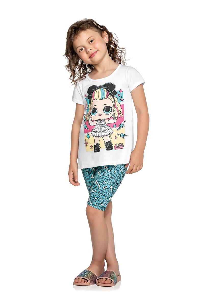 Conjunto feminino LOL camiseta de malha e legging