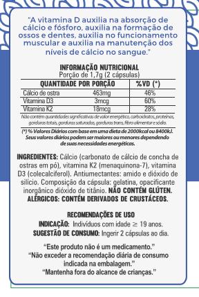 Cálcio com Vitaminas D3 e K2 - 60 Cápsulas - 500mg