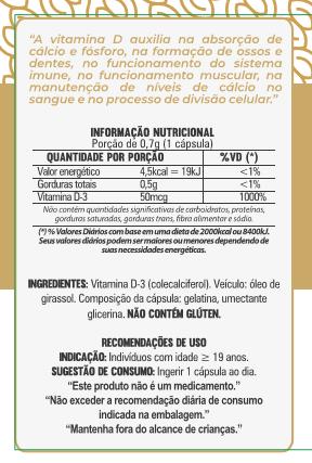 Vitamina D3 2000UI - 60 Cápsulas - 500mg