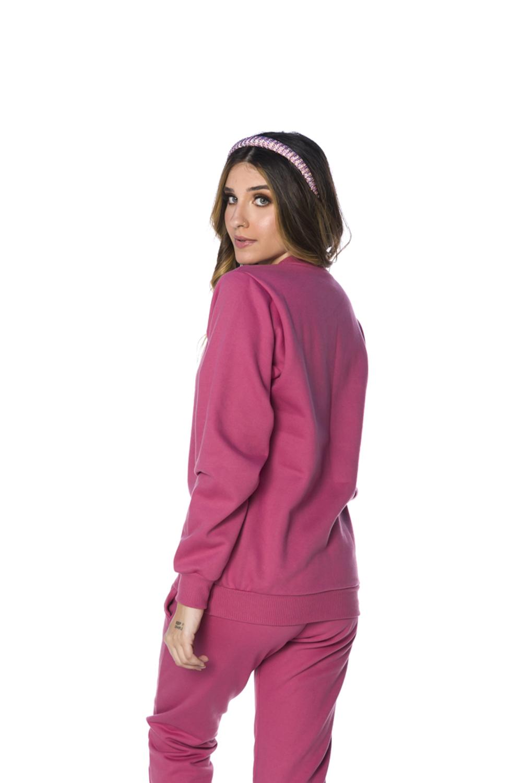 Blusa Moletom Decote Redondo Feminina Rosa Blush