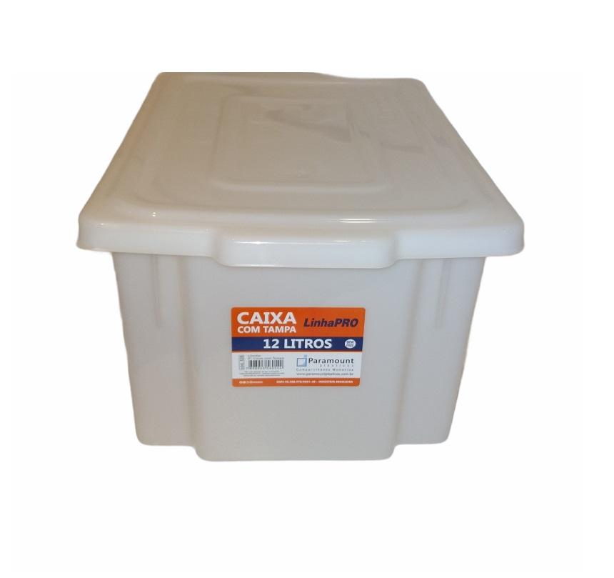 CAIXA PLÁSTICA PROFISSIONAL COM TAMPA 12 litros - PARAMOUNT