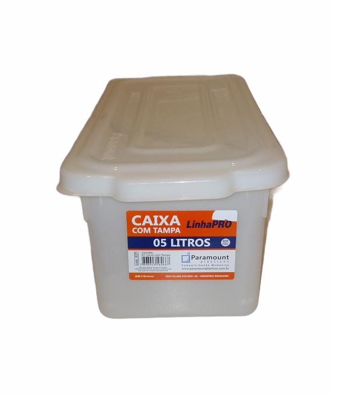 CAIXA PLÁSTICA PROFISSIONAL COM TAMPA 5 litros - PARAMOUNT