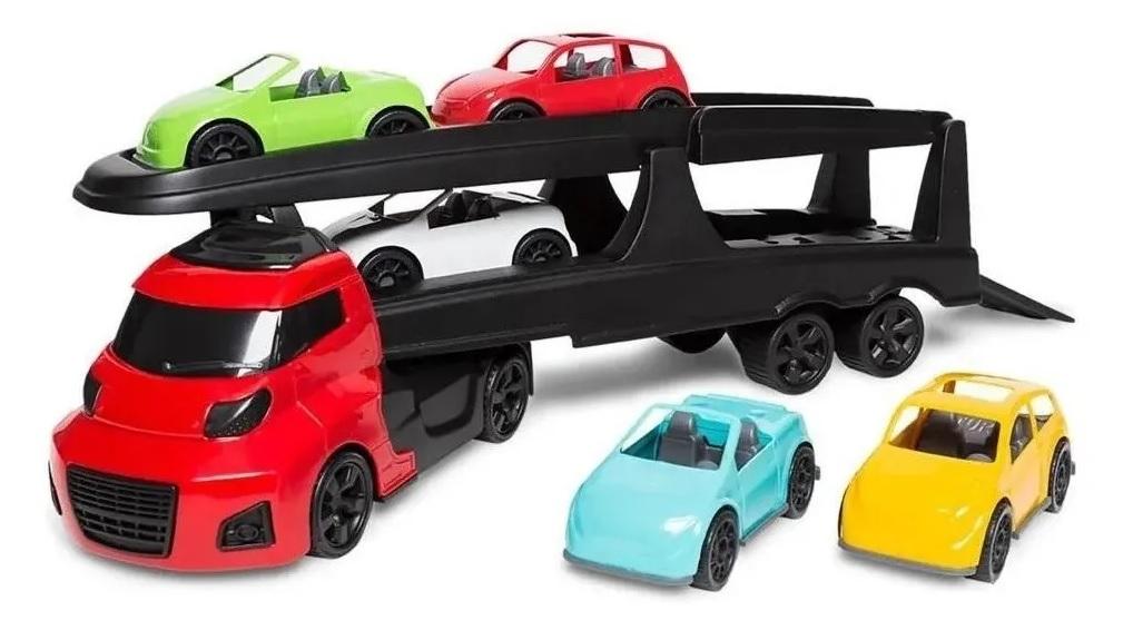 Caminhão De Brinquedo Cegonha Invictus 6 Peças - Cardoso Toys