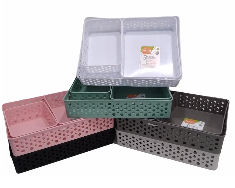 Cestos Organizador com 3 unidades  Usual utilidades.