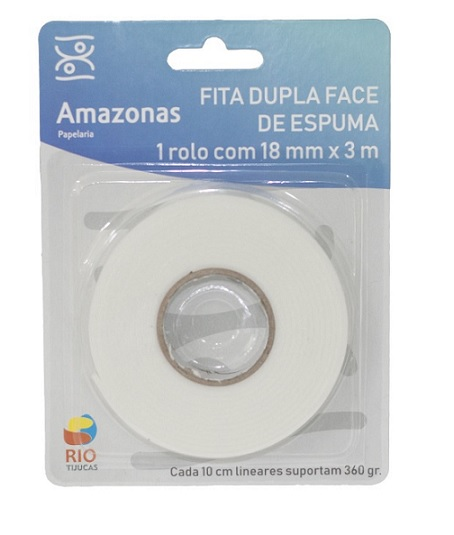 FITA DUPLA FACE DE ESPUMA 18mm X 3m - RIO TIJUCAS