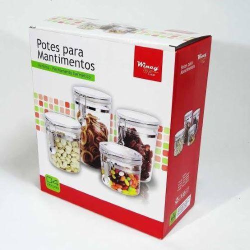 Kit 04 Porta Mantimentos Alimentos - Wincy