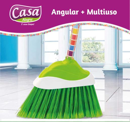 Vassoura Nylon com Cabo Cepo Plástico com Capa Casa Alegre Angular Mais