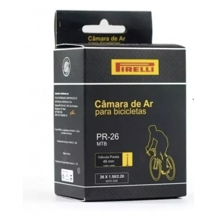CAMARA DE AR PIRELLI PR-26 26X1.50/2.20, VALVULA PRESTA 48MM (59307)