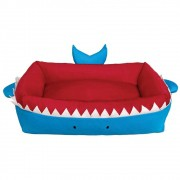 Cama para Cachorros e gatos de Tubarão na cor Azul, Tam P, M e G
