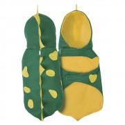 Fantasia de Dinossauro Roy verde e amarelo para cachorros e gatos, Tam PP ao GG
